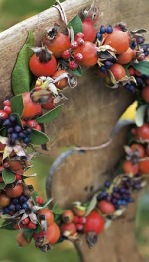 Smuk krans af hyben og bær