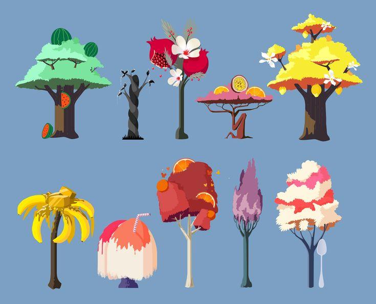 trees, illustration, candy, banana, fruit, game