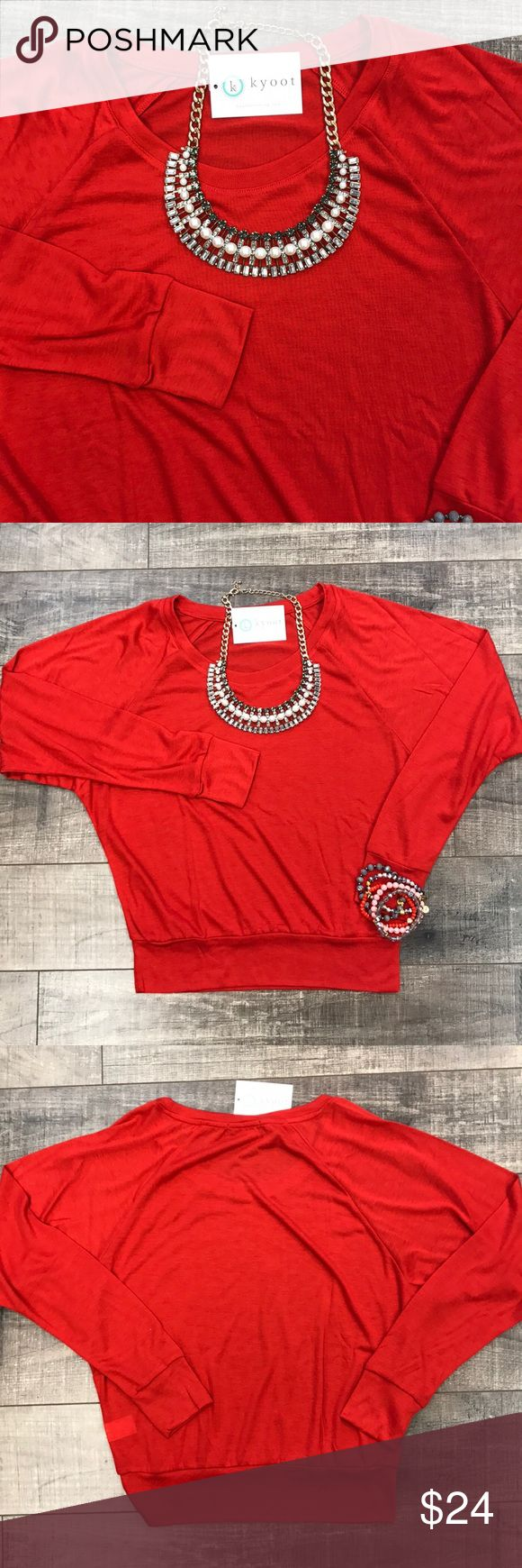 Red Long Sleeve Top Cute and simple! Really soft! Plenty of room in the bust area. 65% Polyester 35% Rayon. No trades. Kyoot Klothing Tops