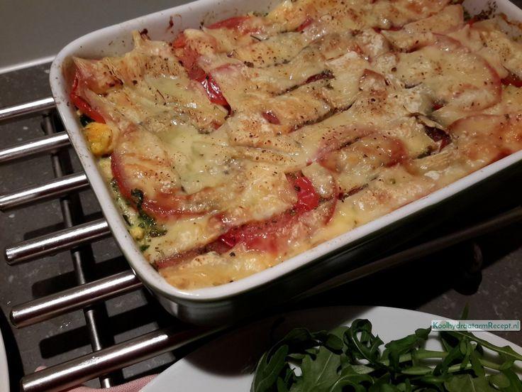 Koolhydraatarme Spinazie tomaat ovenschotel