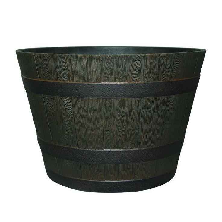 Null 22 1 2 In Dia Rustic Oak Resin Whiskey Barrel Planter With Iron Band Home Whiskey Barrel Planter And Patio