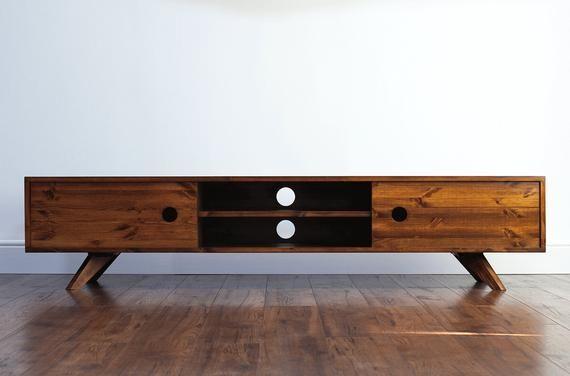 180cm Vintage Retro Tv Stand Cabinet Entertainment Centre Media Console Solid Wood Rustic Lowboard In 2020 Retro Tv Stand Tv Stand Wood Tv Stand Cabinet