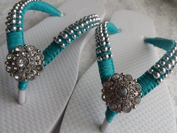 Teal Bridal Flip Flops / Wedding Color Flip Flops / Macrame Beach Flip Flops / Silver Pearls Sandals / Bridesmaids Shoes.