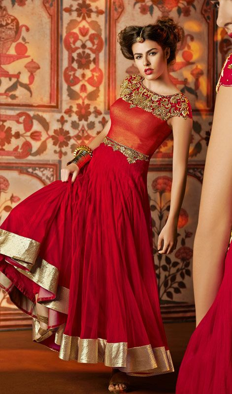 Red Embroidered Net Long Anarkali Churidar Suit
