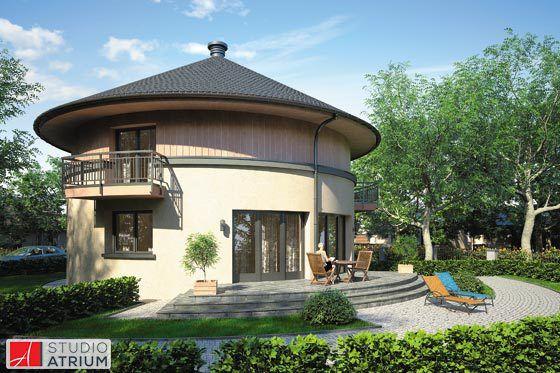 Orbis S-GL 868. Orbis to dom nie tylko oryginalny, ale wyjątkowo miły dla oka i sympatyczny. Zaprojektowany dla indywidualistów ceniących wygodę i nieszablonowe rozwiązania. Całość oparto na planie koła i przykryto prostą kopułą z tradycyjnej dachówki. Choć dom z pewnością będzie wzbudzał zainteresowanie jego linia bryły nie jest krzykliwa, a stonowane detale architektoniczne łamią geometrię kształtu koła. .