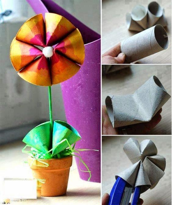 Blume aus Toilettenpapierrollen mit Kindern basteln