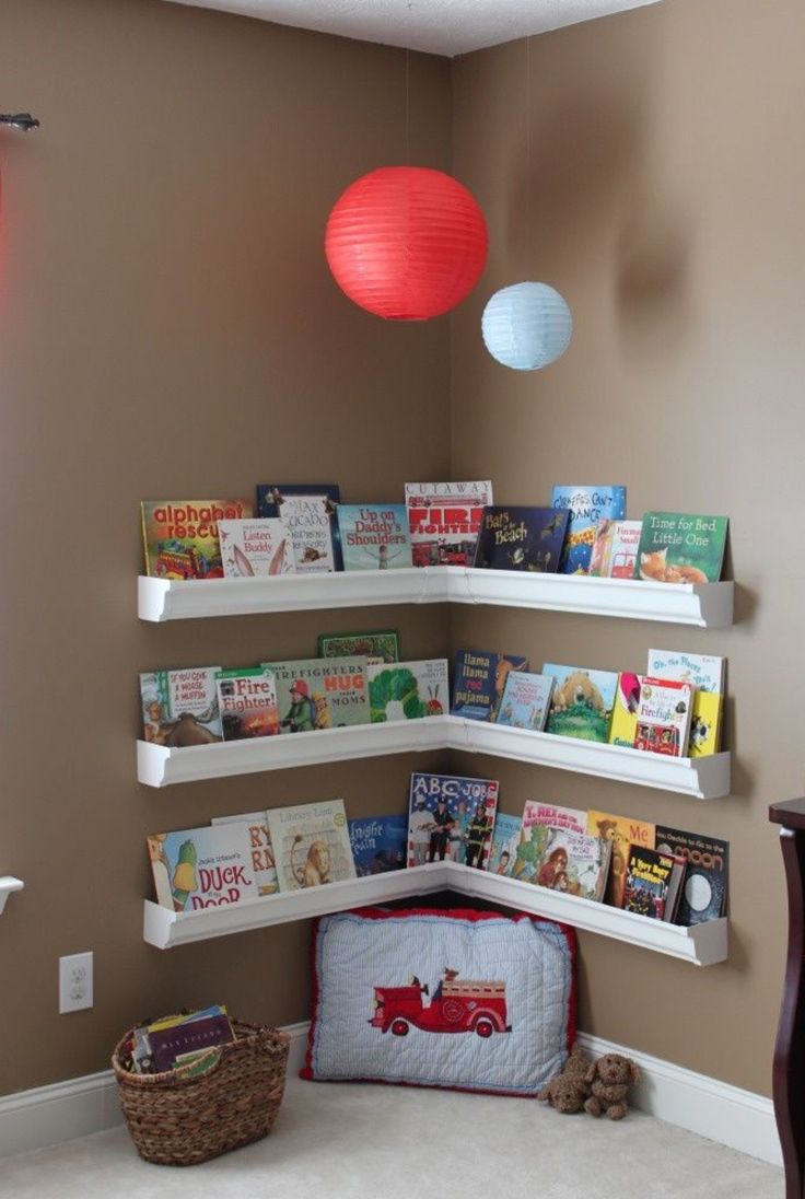 Small Corner Bookshelves Behind Door In Kids Room