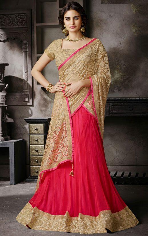 Attractive Shocking Pink and Beige #Lehenga #Saree