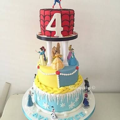 Image result for spiderman and frozen cake