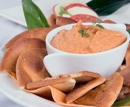 Try this Red Pepper Dip as a healthy appetizer for the big game!: Almonds Butter, Snacks Recipes, Roasted Red Peppers Dips, Weights Watchers, Food, Hummus, Appetizers, Favorite Recipes, Dips Recipes