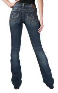 Silver Jeans® Women's Dark Stonewash Tuesday Low Rise Baby Boot Jeans- 36in Inseam & Extended Sizes | Cavender's