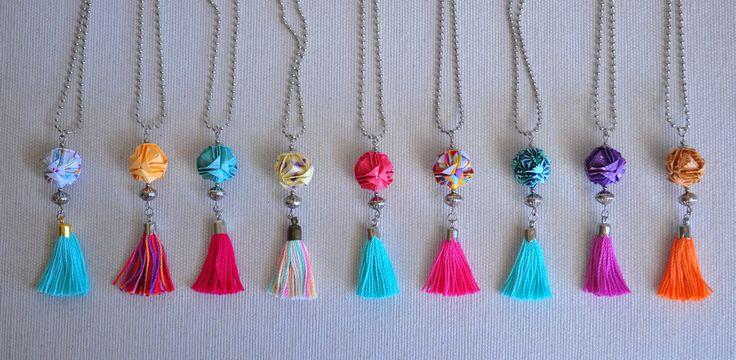 Collar brocade + tassel by Ki. Seguinos en www.facebook.com/KiObjetosDeOrigami
