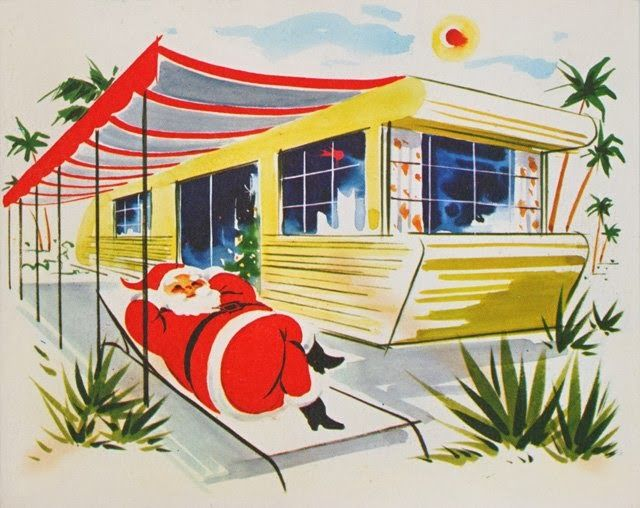Vintage Christmas card - Santa Claus lounging by a trailer - mid century modern