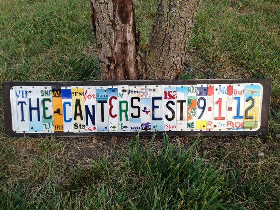 10th Wedding Anniversary Aluminum Gift Custom Recycled LICENSE Plate Art Sign Tin Traditional 1st 5th 15th 20th 25th