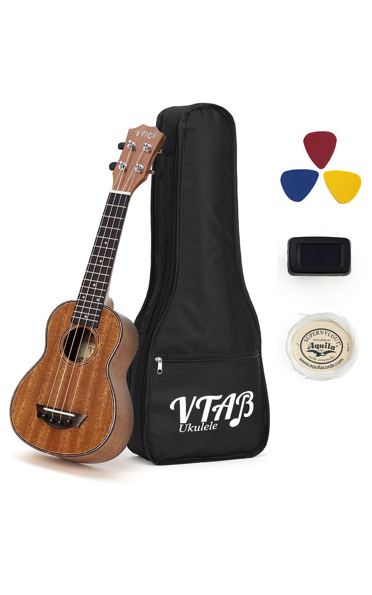 "VTAB 21"" Full Mahogany Soprano Ukulele Kit with Tuner & Carrying Case. Wonderfully Handcrafted with Rosewood Fretboard & Bridge, Okoume Neck, Ox Bone Nut & Saddle, Maple Rosette and Acrylic Inlays, Aquila Nylon Strings and Die-cast Black Machinehead. This Uke with glossy finish looks great, is perfect for the beginner just having fun and makes a great gift!"
