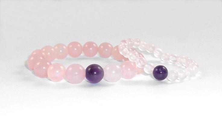 Rose Quartz Bracelet Stacking Bracelets Gift for Her Love between Mom & Daughter Healing Bracelet Wrist Mala Gemstone Bracelets Yoga Beads de MainaShiki en Etsy