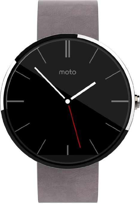 Motorola Moto 360 Smartwatch, Display 1.56 pollici, Memoria 4GB, RAM 512MB, Android Wear, 4GB, cinturino in pelle, colore Argento (Silver)