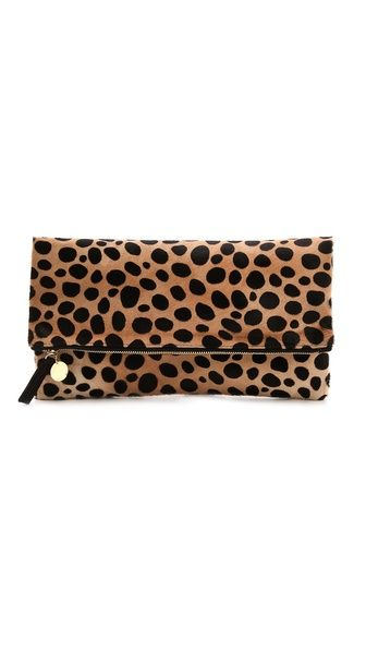 CLARE VIVIER Haircalf Fold Over Clutch Of course I love the animal print-leopard, my fave! (This is not leopard, but very close)