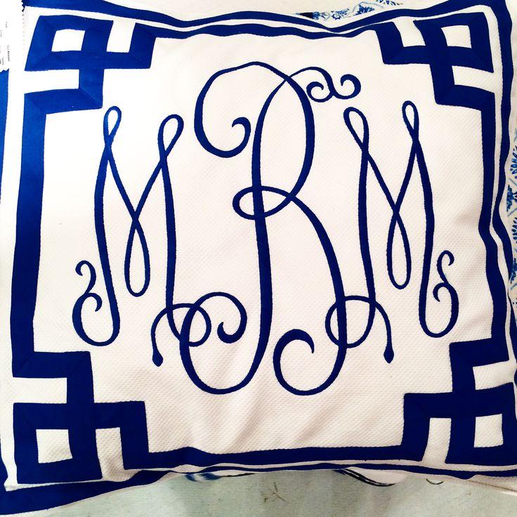Blue and white Greek key monogram pillow