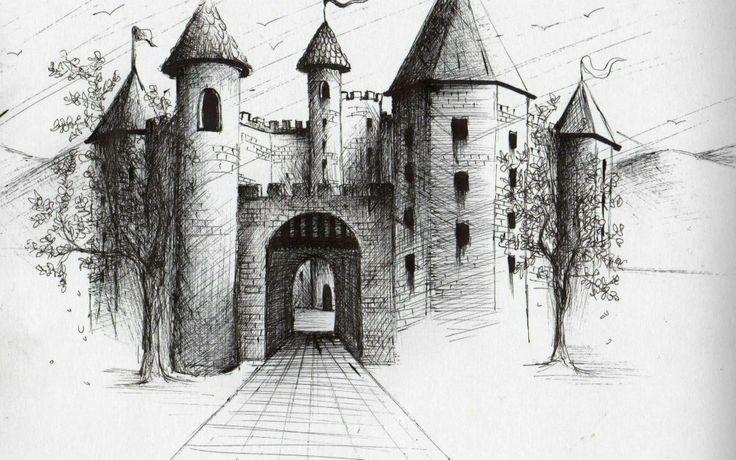 dibujo, blanco y negro, tinta, casa, castillo