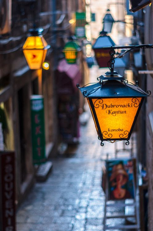 Lamps hanging in an alleyway in Dubrovnik's Old Town.