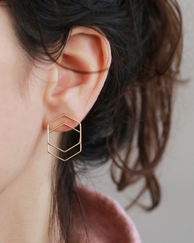 Perfect gift for best friend. Stud Earrings / Geometric gold stud earrings – a unique product by Sigalita via en.DaWanda.com