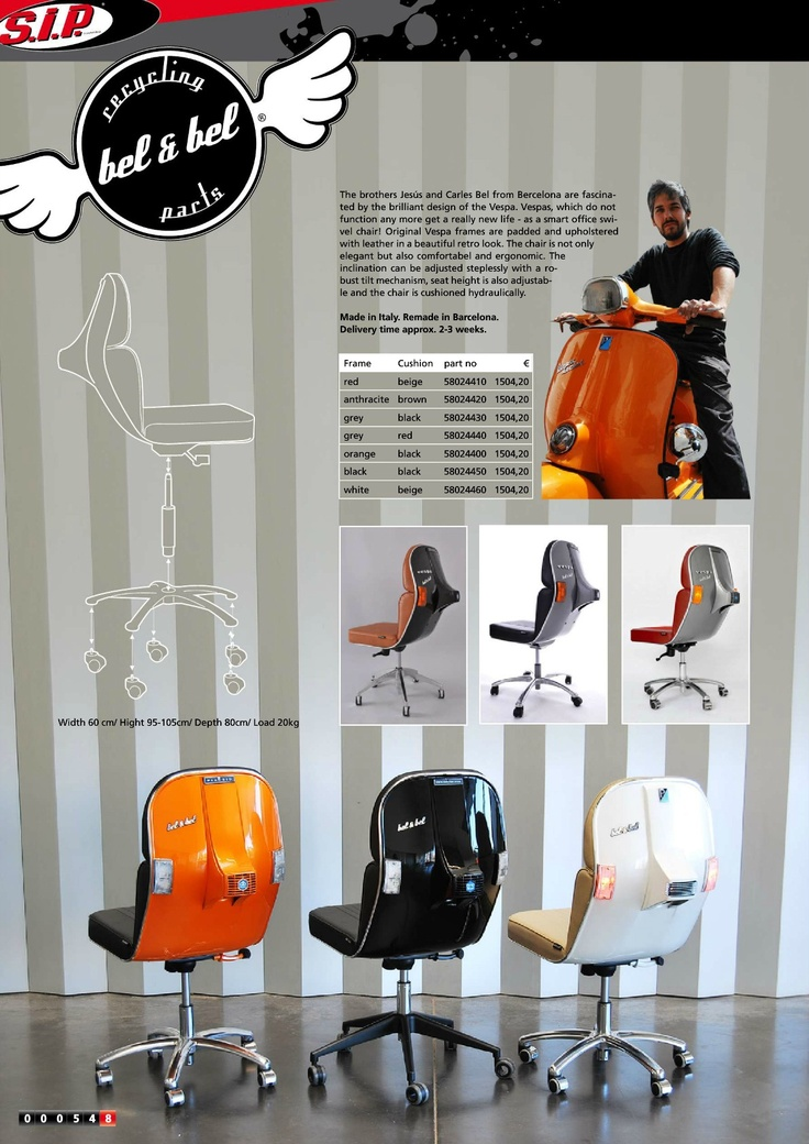 SIP Scooter Shop  Catalogue Clasic Vespa (page 548) Scooter Chair.  NEED FOR MY OFFICE!!!!!