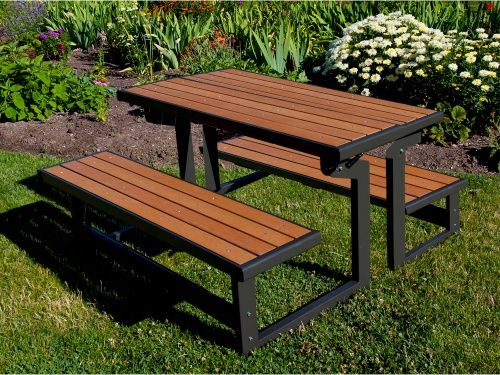 Lifetime Products Wood Grain Convertible Folding Picnic Table - Picnic Tables at Hayneedle