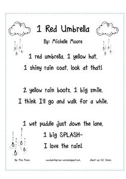 A rainy day inspired counting poem for your little ones!Please take a moment to check out my 1 Red Umbrella: Rainy Day Math CollectionInc...