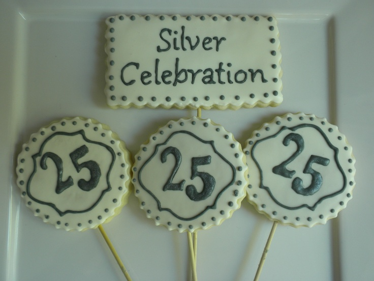 Silver 25th Wedding Anniversary: 17 Best Images About Silver Anniversary Cookies On