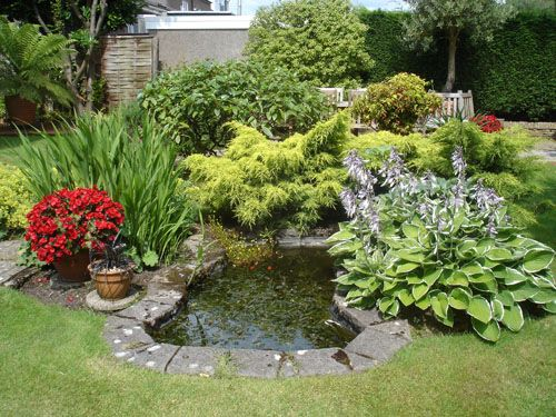 small ponds - great planting around this pond- I think that is what makes a design successful.