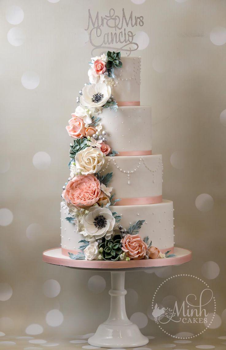 Cake Artist Zurich : Wedding cake with cascade of sugar anemone, David Austin ...