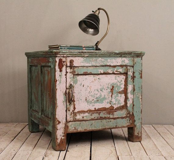 industrial wood furniture. vintage indian old wood very heavy green warm industrial farm chic side table storage box furniture s