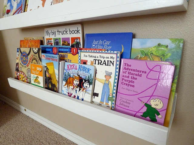 front facing picture book display shelves - with easy to construct directions.