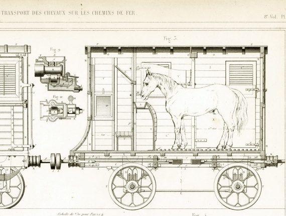 1853 Plans Wagon pour le transport des chevaux. par sofrenchvintage