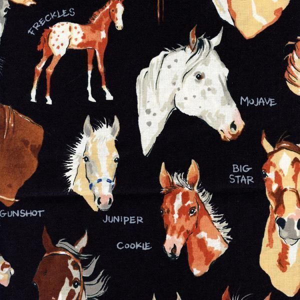 Stable Mates Horses Black Quilt Sew Fabric ALEXANDER HENRY #AlexanderHenry