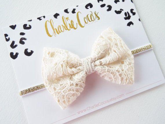 Baby/Girls Fabric Bow Headband- Cream Lace Fabric Bow Headband, Cream Lace Hair Bow with Gold Sparkle Headband by Charlie Coco's on Etsy, $10.95