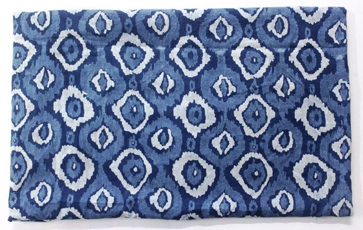 5 Yard Indian Hand Block Print Fabric Floral Indigo Blue Fabric Tay Dyed Fabric #KhushiHandicraft