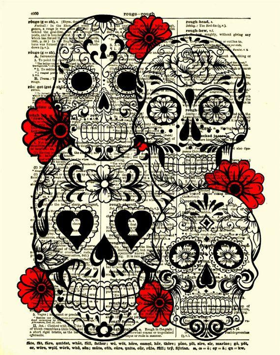 Sugar Skull Art, Sugar Skull Collage, Dictionary Art Print, Wall Decor, Wall Art, Day of the Dead, 024. $10.00, via Etsy.