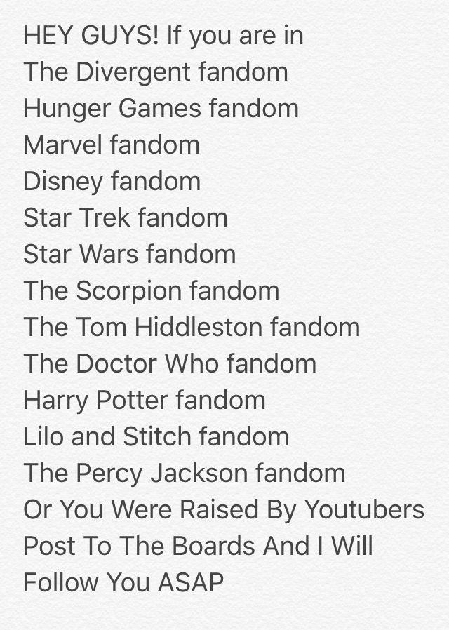 I'm in the Divergent, Hunger Games, Marvel, DISNEY, Star Wars, Harry Potter, Lilo and Stitch, and the Percy Jackson fandoms!