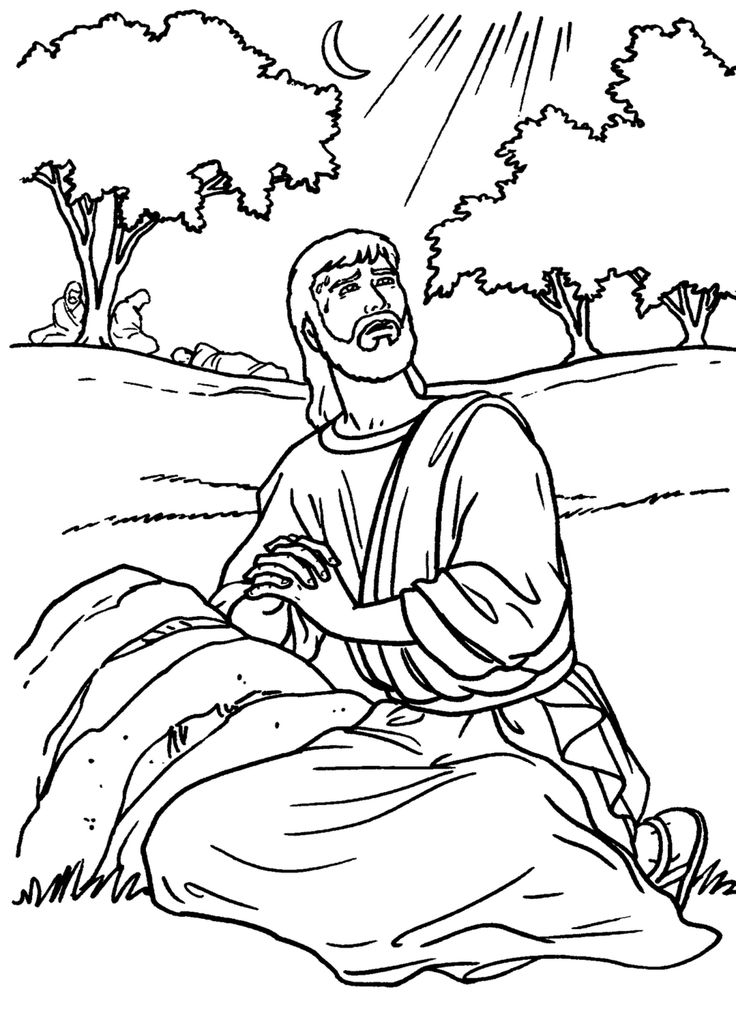 jesus praying in the garden - Jesus Praying Hands Coloring Page