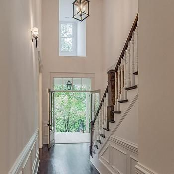 Two Story Foyer with Carriage Lantern, Transitional, Entrance/foyer