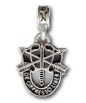 "Special Forces- The Special Forces Group, also known as the Green Berets have a unique insigina. The crest, as it is worn today, incorporates elements of their proud heritage, and the Motto of the Special Forces ""De Oppressor Liber"" means ""To Free the Oppressed"". The charm is a .925 sterling silver replica of special forces logo with black enamel."