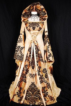 More RoxxGold Flock, Favorite Gowns, Gold Black, Flock Medieval, Damasks Flock, Black Damasks, Medieval Gowns, Flock Damasks, Damasks Gowns