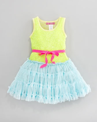 Sequined Tulle Dress, Sizes 4-6X by Le Pink at Neiman Marcus.