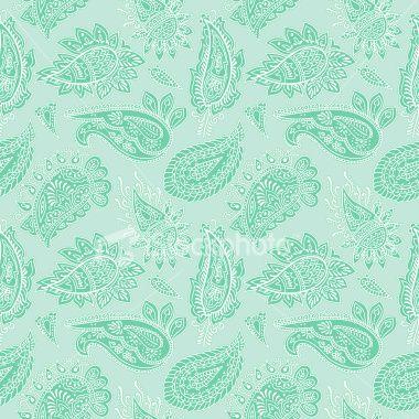 Mint green paisley illustration