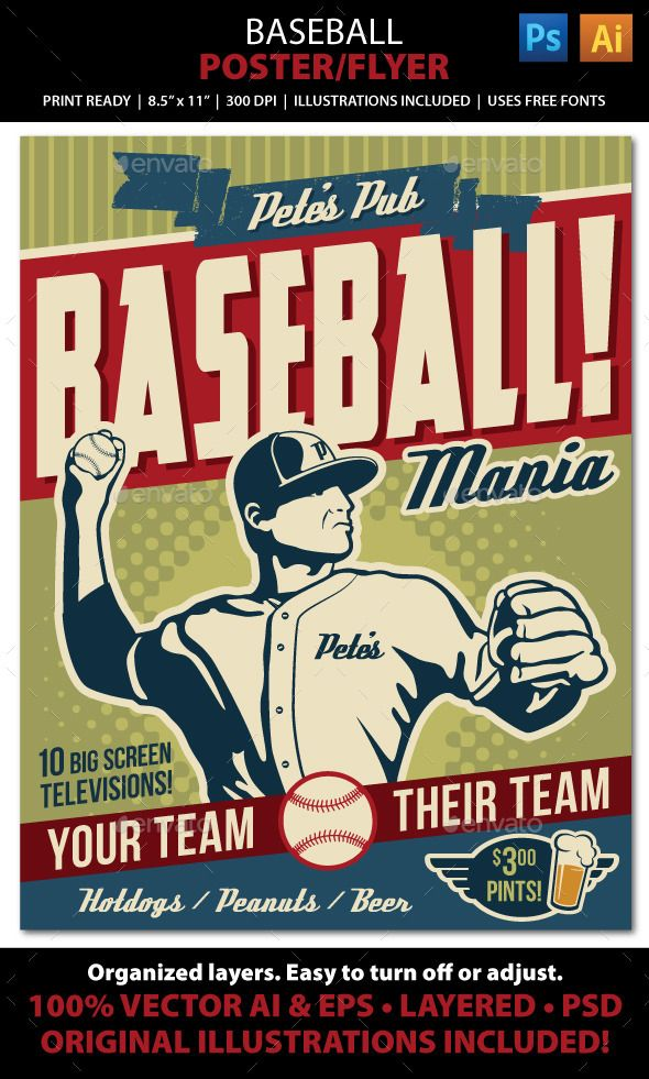 Baseball Poster, Flyer or Ad Promote your baseball themed event, tournament, baseball/softball league, or baseball playoffs /World Series party with this vintage look flyer! File comes with all the elements you need to create accompanying print pieces such as magazine and newspaper advertisements, postcards, invitations, brochures, announcements, brochures, and web graphics. Well organized layers allow for easy layout and color adjustments.
