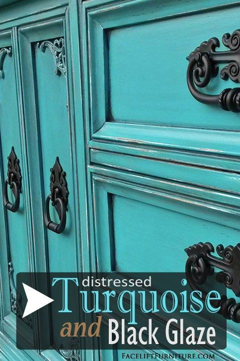 Dresser REDO in distressed Turquoise and Black Glaze - DIY ideas from Facelift Furniture!