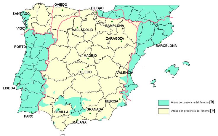 Map showing presence of seseo in Iberian Peninsula