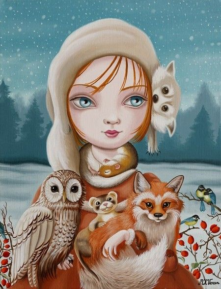 Illustration:  Girl, owl, and other creatures by Marie-Helene Veran